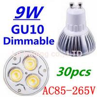 30pcs/lot Dimmable GU10 3X3W 9W Led Lamp Spotlight 85V-265V Led Light downlight High Power Free shipping
