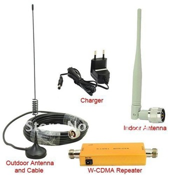 Free shipping 2013 Up to 500 Square Meter WCDMA 2100MHz 3G RF Repater Mobile Phone Signal Booster Amplifer Repeater Set