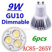 6pcs/lot Dimmable GU10 3X3W 9W Led Lamp Spotlight 85V-265V Led Light downlight High Power Free shipping