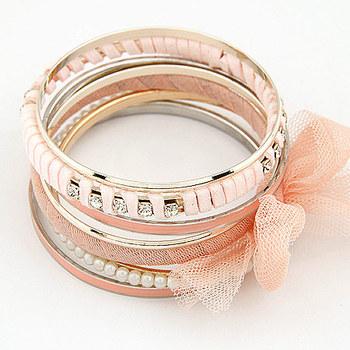 Free shipping 2015 new jewelry european style wholesale punk Multi-layer sparkling gauze fabric bow pearl bangle wrape set women