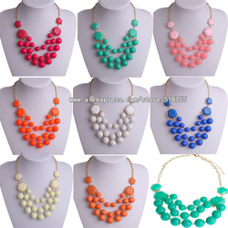 Free Shipping Mixed Colors Cheap Wholesale Statement Choker Necklace Fashion Jewelry Women Bubble Bib Design Big Handmade BN163(China (Mainland))