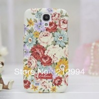 Free  shipping 5pcs/lot Good quality Country style flower case cover for  samsung galaxy SIV I9500 hard case