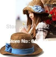 Free shipping Wholesale handmade women straw woven hats sun hats blue rose straw caps beach hats