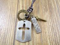 Retail Wholesale handmade cowboy style Genuine leather cross vintage hollow cross pendant men women necklace 0016