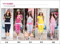 New Korean Summer Women Casual Sports Set  Sweatshirt Hoodie Set Letter Printed Short Sleeve Hoodie+Tank+Capris 3PCS Sport Suits