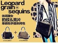 2013 fashion fashionable casual bag women's handbag leopard print paillette bag one shoulder bag handbag messenger bag