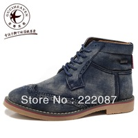 British Fashion Men's anti-fur lace-up pointed toe cowboy leather shoe Winklepickers,casual ankle Martin boots,Blue,Brown,39-44
