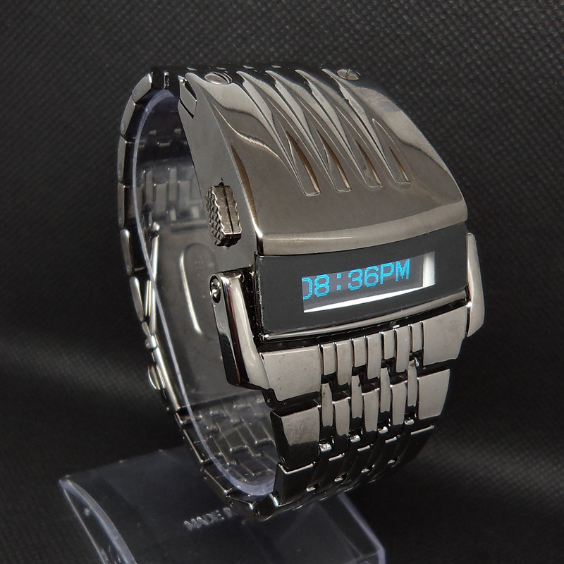 Brad New!!!Cheapest Futurist japanese digital blue LED watches full balck stainless steel men's wrist watch free shipping(China (Mainland))