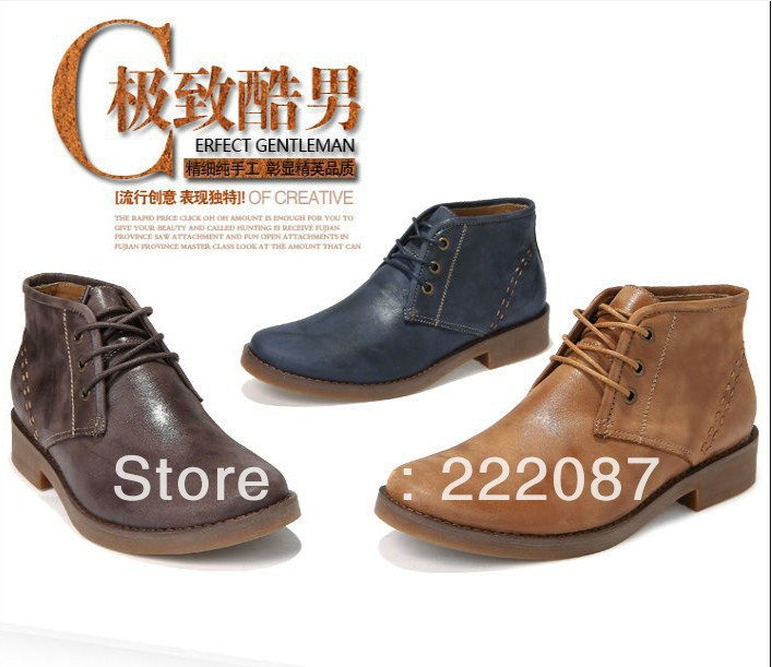 free shipping Fashion Men's lace-up pointed toe genuine cow leather formal suit dress wedding business office shoe,Blue,38-44(China (Mainland))