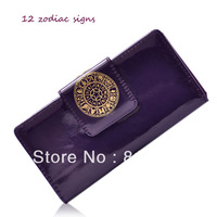New Arrival 12 constellation purple wallet many cord holders three layers women handbags