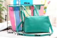 fashion bags  summer beach bag transparent big bags candy color jelly bag women's handbag shoulder bag  ,free shipping