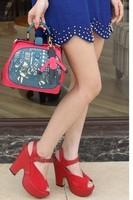 2013 women's handbag fashion personality cutout colorant match handbag messenger bag doctor bag color block decoration bags