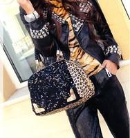 2013 leopard print paillette bag fashion women's handbag shoulder bag handbag messenger bag