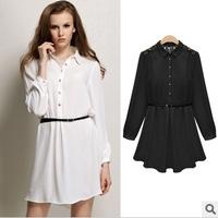 Free Shipping 2013 Cheap Brand Korean Clothes Lace Patchwork Cutout Dresses Women Jooen Summer Chiffon Dress with Belt LY131461