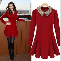 Free Shipping 2013 Dresses New Fashion Autumn Winter Elegant Woolen Beaded Peter Pan Collar Long Sleeve Red Ruffle Dress