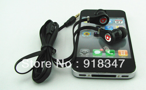New Black In-Ear 3.5mm Ear bud Earphone Headset for iphone pod MP3 MP4(China (Mainland))