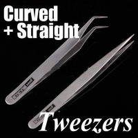 2 Pcs Nonmagnetic Stainless Steel Curved Straight Tweezers