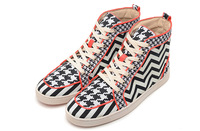 2013 Newly Black and White  Stripe Red bottom men shoes  Free shipping