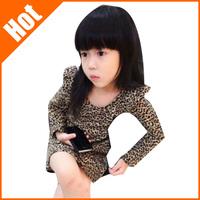 wholesale Girls clothing  leopard print ruffle hem one-piece dress basic shirt fashion girl 2013 summer dresses 5pcs/lot