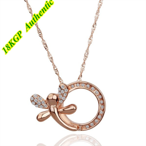 Hot! Fashion 2013 Trendy Pendant 18K Gold Plated Dragonfly Charm Necklace For Women and Men With Zircon Wholesale(China (Mainland))