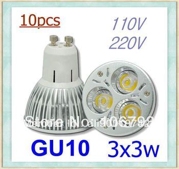 On sale 10pcs/lot GU10/E27/E14 9W 110V 220V Dimmable led Light led lamp bulb led Bulb spotlight free shipping