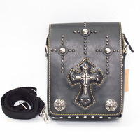 New Cool punk rock style rivet cross waist bags corss body  bags unisex messenger bags leather traverl pouch bags black brown