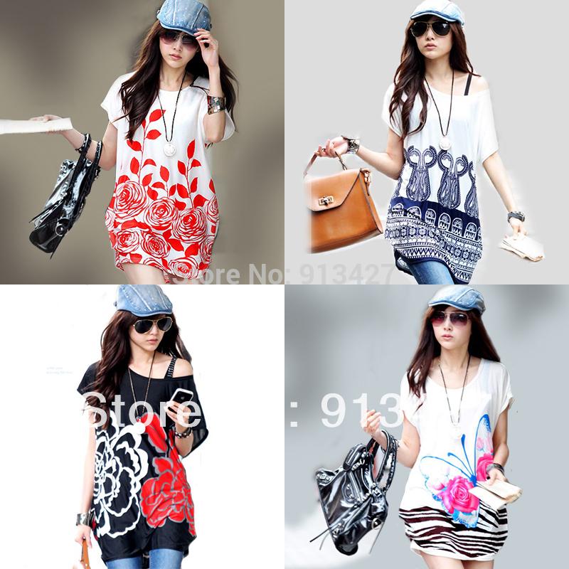 2014 New Women's Fashion Short-sleeve Long Loose T-shirt Print Plus Size Cool Viscose Tops Female Blouses T Shirts Free Shipping