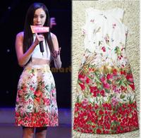 Summer Dress 2013 Casual Brand Women's High Quality Cherry Printed O-neck Sleeveless Casual Dress
