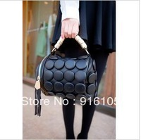 2013 New Arrival Decorative buttons ghost handbag,Tassel barrel bag,Fashionable female bag.Z-323 Free shipping