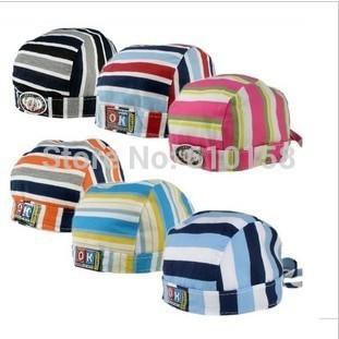 Free ship!2014 Spring Autumn 100% cotton baby pirate hat ,fashion stripe turban cap children elastic lacing beanie baby caps