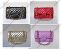 25CM Bright Golden Chain 2.55 Double Flap Bag / Lambskin Leather Women Handbag / 2013 Fashion Metal colour Bag(SPG074)