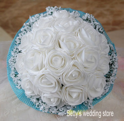 1PCS free shipping Romantic handmade white roses flower wedding bridal hand-tied bouquet supplier(China (Mainland))