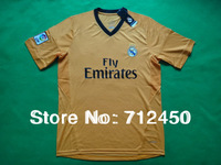 Free shipping 2013/2014 Best thailand quality Real Madrid away Orange Ronaldo Isco bale Benzema Di maria Modric Soccer jersey