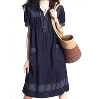 2015 brand ethnic dress plus size women clothing jeans dress loose summer denim vintage plus size casual dress 5xl,4xl,xxxxl