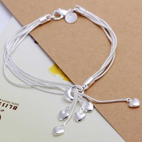 Free shipping 925 sterling silver jewelry bracelet fine fashion heart pendant bracelet top quality wholesale and retail SMTH067