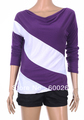 Promotion loose sleeve t shirt stitching striped long-sleeved knitwear pullover for ladies free shipping wholesale 5365