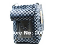 Sapphire blue checkered jacquard nylon  Pet Dogs Carrier Bag