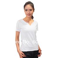 2014 sales women tshirts blank V neck 100% cotton short sleeve t shirt customs label logo printing