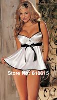(min order 10$) new 2014 white and pink silk pajamas for women baby doll sexy lingerie set with T-string top quality wholesale