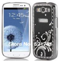 Deluxe Black Steel Aluminum Chrome Crystal Diamond Rhinestone Hard Case Skin Cover for Samsung i9300 Galaxy S3+Free Shipping