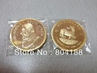 Custom Coins!50/lot Wholesale 100 MILLS.999 Gold-Plated Year 2013 Krugerrand coin,SOUTH AFRICA COIN,Gold Clad Souvenir Coins