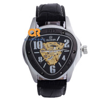 TOP GOER brand cool black man automatic mechanical watch Triangle case gold movt designer leisure leather band watch