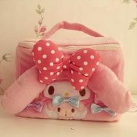Cute Pink Polka Dot Bow Plush Cosmetic Bag