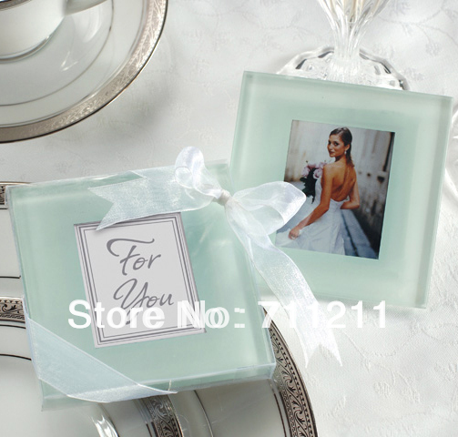 Forever Photo Frosted Glass Coasters 2Pcs(China (Mainland))
