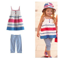 2013 new design baby gril fashion clothing sets( suspender dress +striped leggings ) ,baby clothing, the baby suits