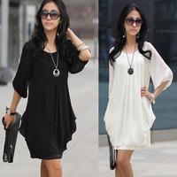 2013 New Fashin Crew Neck Mini Chiffon Casual Party Dresses Women Free Shipping Blouse T-shirt Chiffon Dresses For Summer
