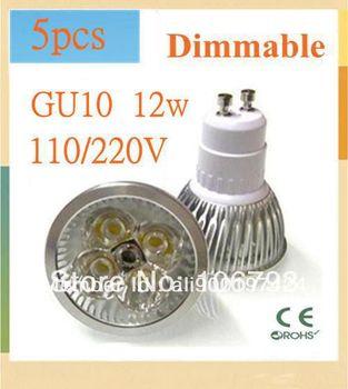 x5 GU10/E27/MR16/GU5.3 LED Bulb lamp 85~265V 12W 500-650LM led Spotlight Warm white led lamp Free Shipping+Drop Shipping