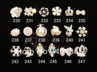 20 pcs mixed style DIY  phones nails glitter rhinestones alloy 3d bow nail art decoration NRD016 series