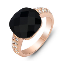 #SI0889 New 2013 Best Christmas Gift Fashion Black Crystal Rings Wedding Jewelry Rose Gold Plated Party Ring