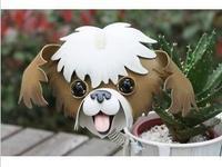 Petty bourgeoisie balcony decoration wrought iron pet dog flower pot small paddy